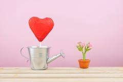有小银色喷壶的红色有叶形装饰的巧克力心脏棍子和在棕色植物罐的微型假花在木盘子 免版税库存照片