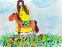 有小马的滑稽的女孩。 库存照片