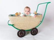 有小鸡的一个婴孩在摇篮车 库存图片