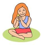 有小鸡的动画片女孩 免版税库存照片