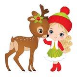 有小鹿的传染媒介逗人喜爱的小女孩 皇族释放例证