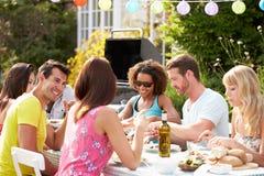 有小组的朋友室外烤肉在家 免版税库存图片