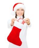 有小giftbox和库存的微笑的妇女 免版税库存照片