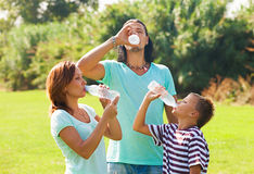 有少年饮用水的父母 库存图片