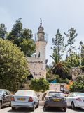 有尖塔的清真寺,是在玛丽` s春天附近在老市耶路撒冷,以色列 库存照片