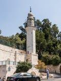 有尖塔的清真寺,是在玛丽` s春天附近在老市耶路撒冷,以色列 免版税库存图片