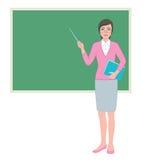 有尖的女老师在黑板 免版税库存图片