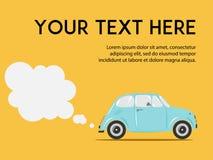 有尾气的时髦的意大利汽车在黄色背景 复制空间 网或印刷品的逗人喜爱的平的传染媒介例证 库存图片