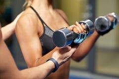 有屈曲在健身房的哑铃的妇女肌肉 库存图片