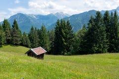 有山、小屋和草甸的高山牧场地 库存图片