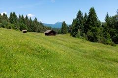 有山、小屋和草甸的高山牧场地 免版税库存图片