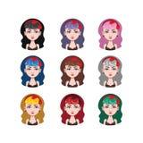 有山区乡村摇滚乐样式的- 9种不同头发颜色女孩 免版税库存照片