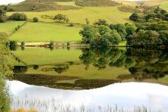 有山和树反射的美丽的湖 库存照片