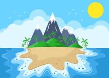 有山和棕榈树的动画片海岛 免版税图库摄影