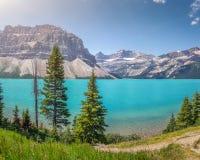 有山山顶的弓湖,班夫国家公园,亚伯大,加拿大 免版税图库摄影