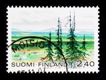 有山的乌尔霍・卡勒瓦・吉科宁国家公园,国家公园serie,大约1988年 图库摄影