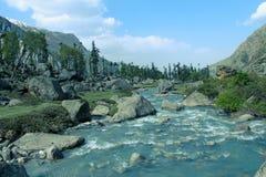 有山的河 免版税库存照片