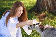 有山羊的少妇 图库摄影