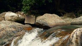 有岩石的不可思议的河 与急流的快速的岩石清楚的水晶小河 与小瀑布的蒸汽 飞溅落的水 股票视频