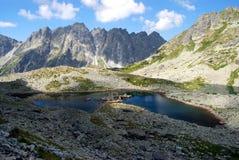 有峰顶的Mountain湖在背景中 库存图片