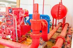 有工业修造的尘土肮脏的里面的管道系统老大配管红色 库存图片