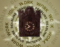 有工作和最后期限圆的文字的时钟 免版税库存照片