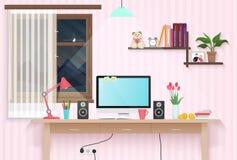 有工作场所的女性少年室 甜与家具的女孩样式室室内设计 库存照片