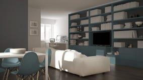 有工作场所角落、大书架和餐桌的,最小的白色现代客厅蓝色建筑学室内设计 免版税库存照片