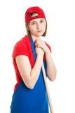 有工作的哀伤的青少年的女孩 免版税图库摄影