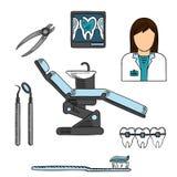 有工具和设备色的剪影的牙医 免版税库存图片