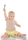 有工具的婴孩在空白背景 免版税库存照片