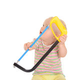 有工具的婴孩在空白背景 库存图片