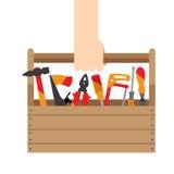 有工具的手箱子 免版税库存照片