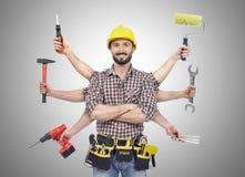 有工具的杂物工 免版税库存图片