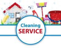 有工具的海报干净的房子为洁净和消毒作用 向量例证