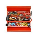 有工具的红色金属工具箱在白色背景 库存图片