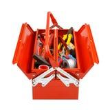 有工具的红色金属工具箱在白色背景 免版税图库摄影