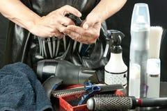 有工具的美发师 库存照片