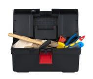 有工具的配件箱在空白背景 库存照片
