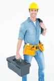 有工具箱和导线的愉快的电工 免版税图库摄影