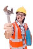 有工具箱的滑稽的年轻建筑工人和 库存照片