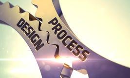 有工艺流程设计概念的金黄齿轮 3d 免版税库存图片