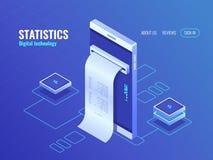 有工资单等量象的,在智能手机屏幕上的数据,数据处理应用3d传染媒介的概念手机 库存例证