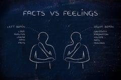 有左右脑子说明的,事实人对感觉 库存照片