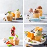 有巧克力冰淇凌的奶蛋烘饼杯子 图库摄影