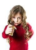 有巧克力块的女孩 库存照片