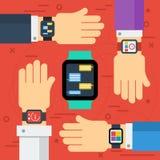 有巧妙的手表的四只手 库存例证