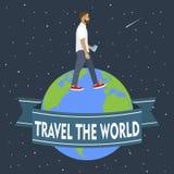 有巧妙的电话的人在地球四处走动 旅行 传染媒介il 免版税库存照片