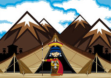 有帐篷的罗马百人队队长矛战士 向量例证