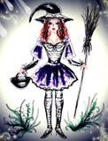有帚柄的俏丽的巫婆在手中 免版税图库摄影